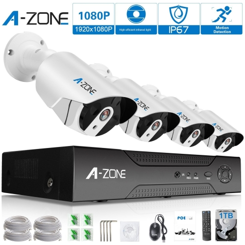 A-ZONE 8CH 1080P NVR IP PoE Security Camera System with 4 Outdoor/Indoor 1080P Cameras--1TB HDD